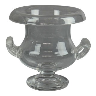 Steuben Glass Works Crystal Double Handle Center Urn, Signed, 20th Century For Sale