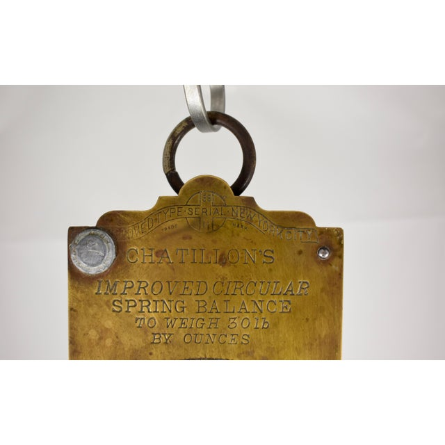 Chatillion Hanging 30 Lb. Brass Mercantile Scale with Steel Tray For Sale In Philadelphia - Image 6 of 11