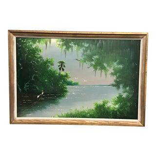 2000s Florida Landscape Highwaymen Oil Painting by Johnny Daniels, Framed For Sale