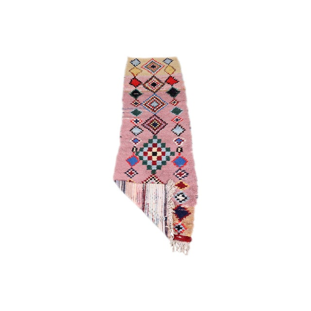 Vintage/one of a kind. Moroccan colorful Azilal Runner. Hand-knotted by Women in the Atlas Mountains of Morocco.