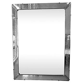 Large Etched Mirror Framed Mirror For Sale