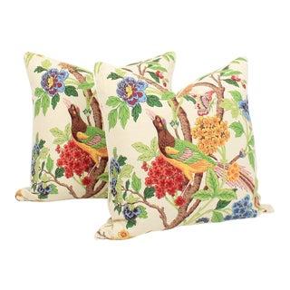 Linen Chinoiserie Bird Pillows, a Pair