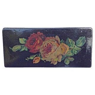 Antique Papier-Mâché Rose Pencil Box For Sale