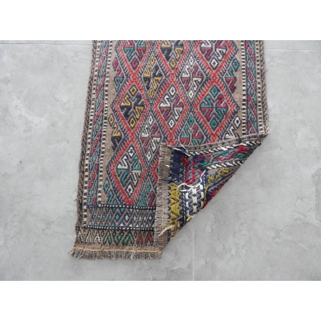 Textile Handwoven Turkish Kilim Rug Pastel Colors Area Rug Petite Braided Kilim For Sale - Image 7 of 8