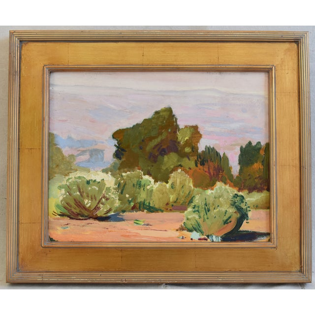 Landscape oil painting on artist board by George Barker (1882-1965.) Born in Omaha, Nebraska and studied in Paris under...