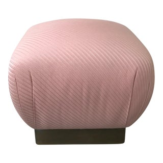 Vintage Pink and Brass Pouf Ottoman by Marge Carson For Sale