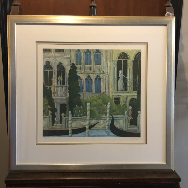 Thomas McKnight Framed Color Etching Venetian Idyll 99/100 Pencil Signed 1981 For Sale - Image 13 of 13