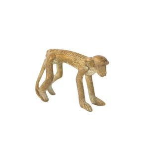 Vintage African Medium Oxidized Bronze Monkey For Sale