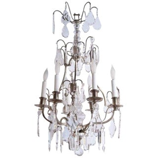 1920s Vintage French Nickel Over Bronze Six-Light Chandelier For Sale