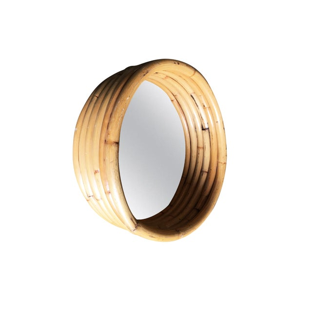 """Six-Strand Round Small 21"""" Decorative Porthole Rattan Mirror For Sale In Los Angeles - Image 6 of 6"""