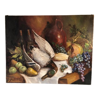 European Still Life Oil With Fruit and Fruits of the Hunt For Sale