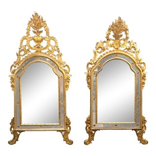 Italian Louis XVI Style Wall or Console Mirror, Compatible Pair For Sale
