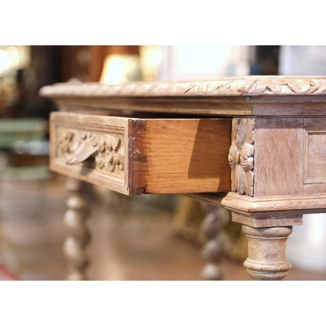 19th Century French Henri II Carved White Washed Oak and Marble Sideboard Server For Sale - Image 9 of 13