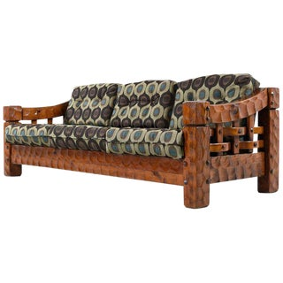 Solid Pine Rustic Log Cabin Sofa by Null For Sale