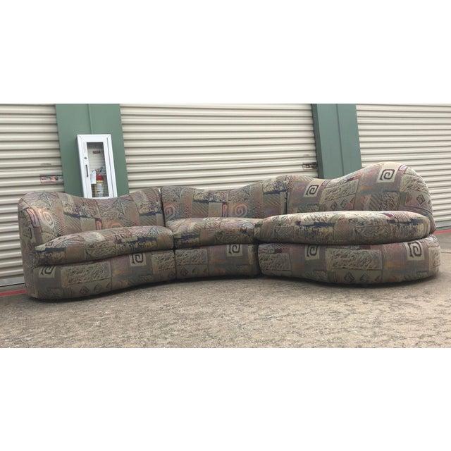 1990s Vintage Basset Curvy Sculptural Serpentine 3 Piece Sofa