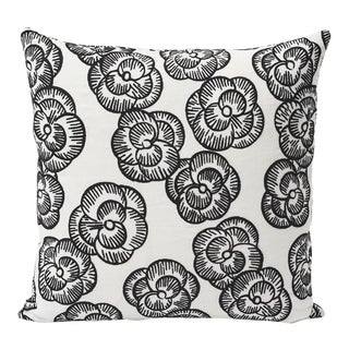 Schumacher Double-Sided Pillow in Mona Embroidered Print For Sale