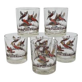 Vintage Red Pheasant Rocks Glasses - Set of 6