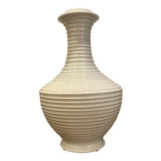 Modern Blanc de Chine Ribbed Vase For Sale