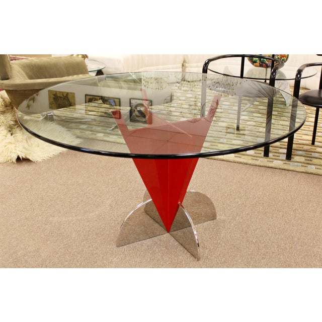 1980s Contemporary Modern Memphis Ettore Sotsass Style Red Iron Glass Dining Table For Sale - Image 5 of 9
