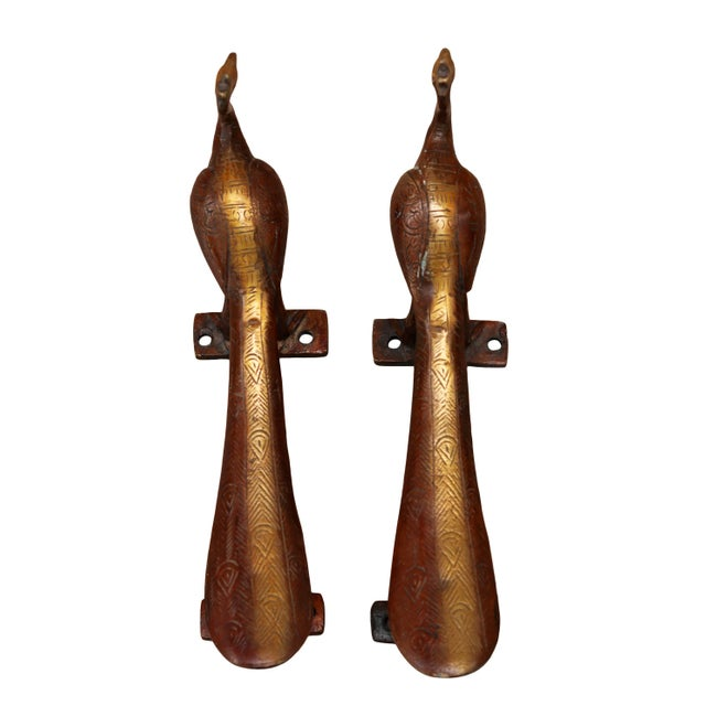 Hollywood Regency Red & Gold Brass Peacock Door Handles - a Pair For Sale - Image 3 of 6
