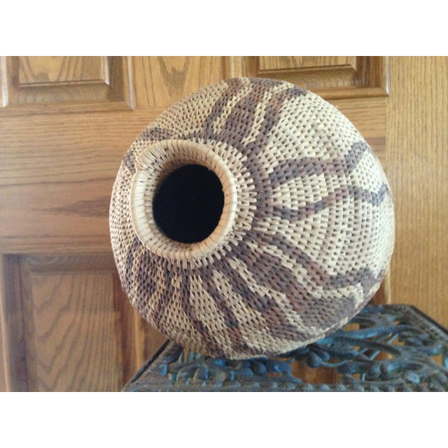 African Handmade Tribal Basket For Sale - Image 4 of 5