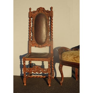 Vintage Spanish Style Barley Twist Throne Chair W Leather & Decorative Nails Preview