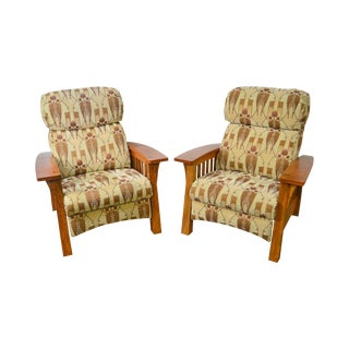 Stickley Mission Collection Pair of Cherry & Walnut Bow Arm Recliner Chairs