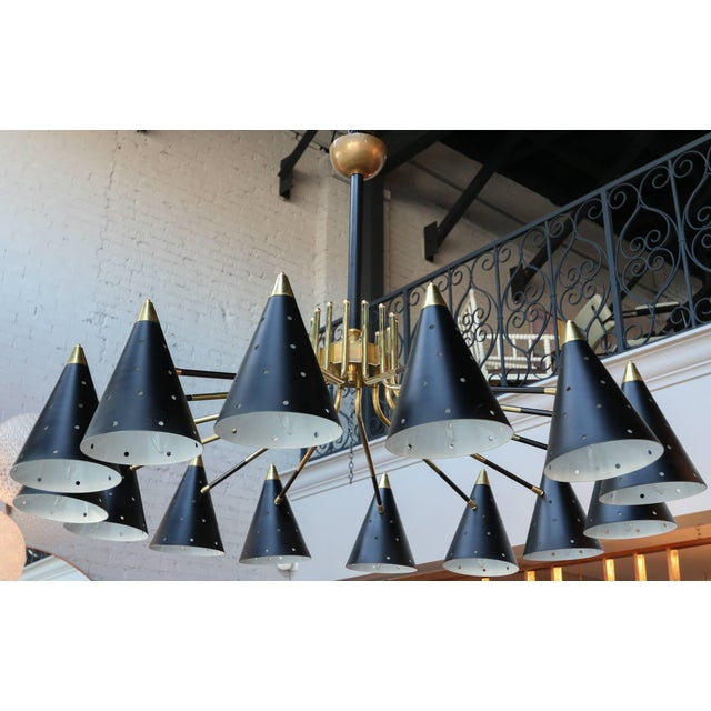 Mid-Century Modern Midcentury Style Brass Chandelier With Black Perforated Shades For Sale - Image 3 of 9