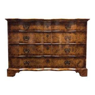 Chippendale Inlaid Banded Burl Wood Serpentine Four Drawer Dresser Chest