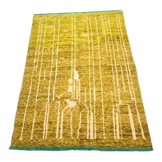 Moroccan Yellow, Green, White Abstract Rug- 6′9″ × 9′10″ For Sale
