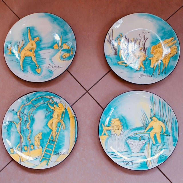 Set of 12 Italian Maiolica Dinner Plates, Painted With Country Life Scenes For Sale - Image 4 of 13