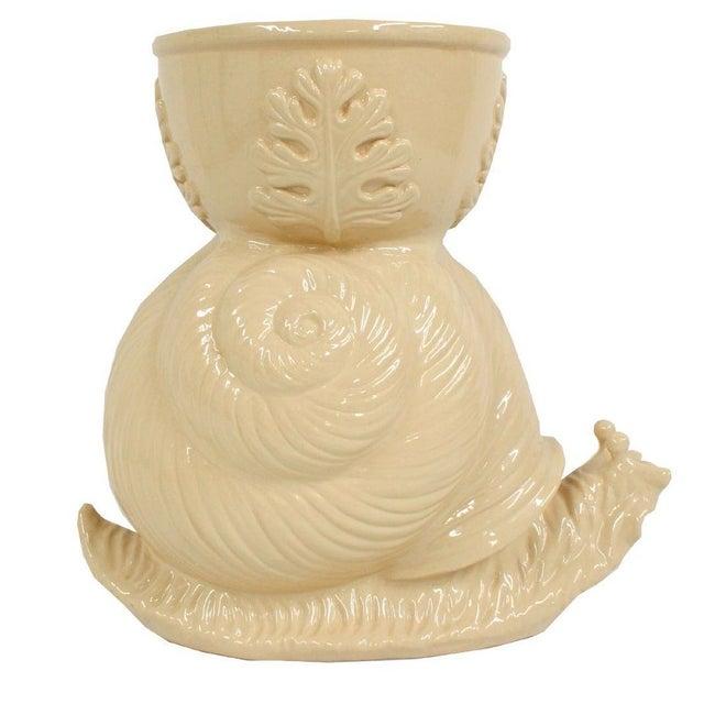 Vintage Beige Ceramic Garden Snail Planter - Image 1 of 3