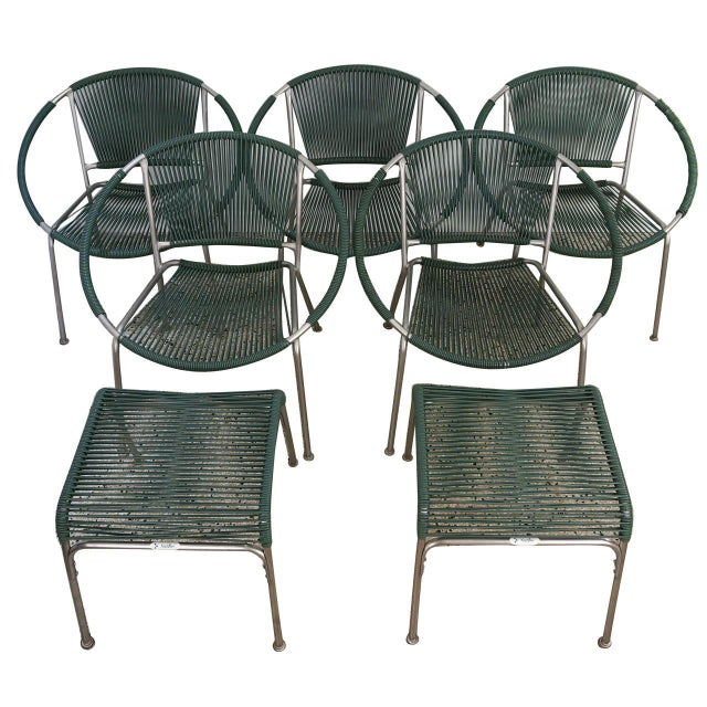 "Five Piece Set of Mid-Century Modern Patio Chairs and Ottomans: ""Surf Line"" by Brown Jordan - Image 1 of 8"