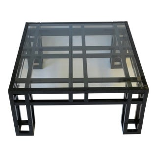 1980s Post Modern Black Lacquer and Glass Geometric Square Coffee Table For Sale