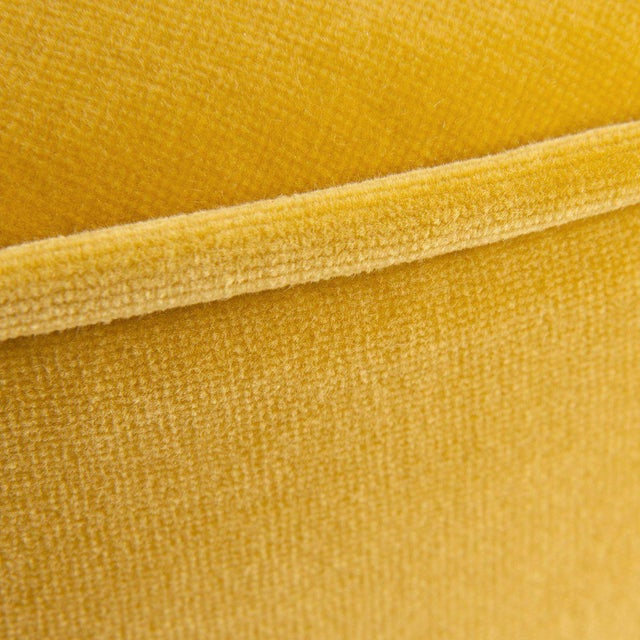 Contemporary Chubby Ottoman in Mustard Velvet For Sale - Image 3 of 4