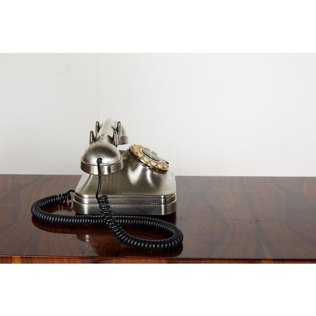 Late 20th Century Retro Brushed Nickel Push Button Telephone For Sale - Image 5 of 9