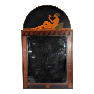 Antique Art Deco Marquetry Mirror For Sale