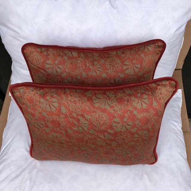 Transitional Rust & Metallic Gold Fortuny Pillows - A Pair - Image 4 of 5