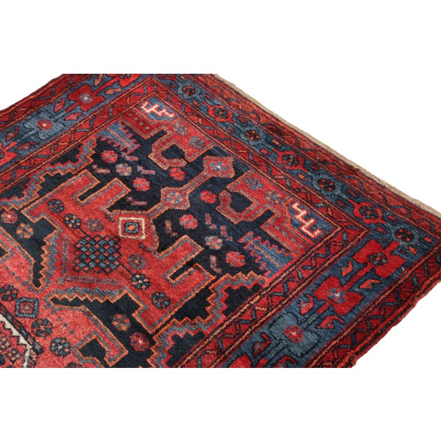 Rug & Kilim Hand-Knotted Antique Mosul Rug in Red Blue Tribal Medallion Pattern For Sale - Image 4 of 5