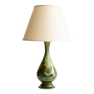 Vintage Turquoise & Green 1970's Lamp For Sale