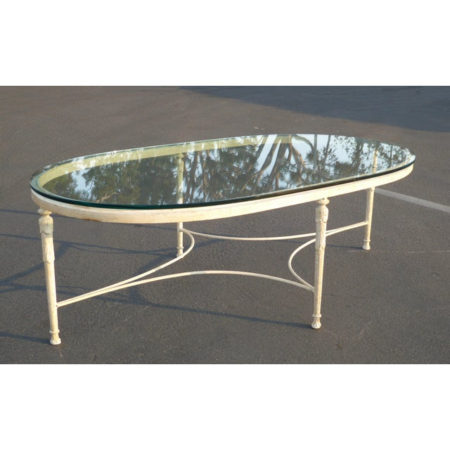 French Provincial Coffee Table For Sale: Vintage French Country Style Oval Off-White Iron Glass Top