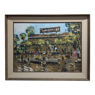"Paul Blaine Henrie ""The Warehouse in Marina Del Rey"" Oil Painting For Sale"