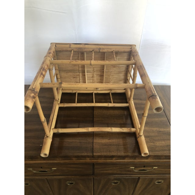 Vintage Bamboo Side Table In Tortoise Style Finish Chairish