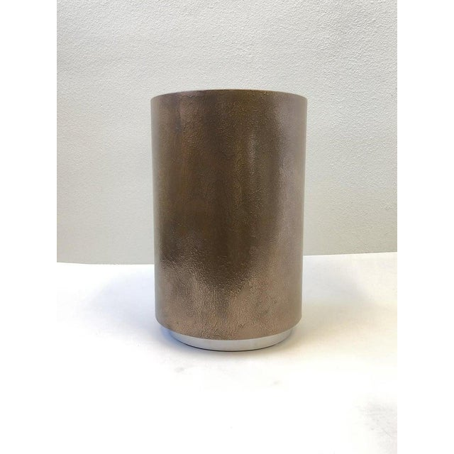 1980s Bronze and Chrome Drum Table by Steve Chase For Sale In Palm Springs - Image 6 of 8