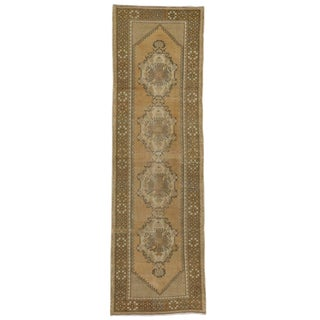 Vintage Turkish Oushak Rug Runner in Warm Colors, 03'00 X 10'00