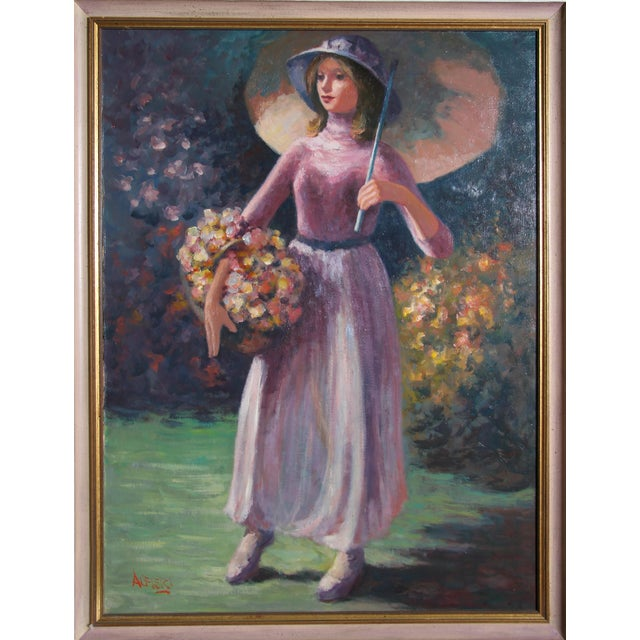 Modern Philippe Alfieri, Woman With Flower Basket, Oil on Canvas, Signed l.l. For Sale - Image 3 of 3