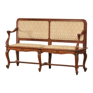 Antique French Art Nouveau Period Walnut Settee Bench circa 1900 For Sale