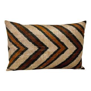 Walnut Wash Silk Velvet Lumbar Pillow For Sale