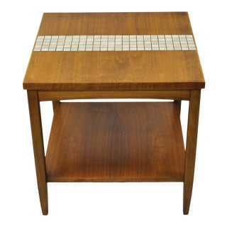 Vintage Mid Century Modern Lane Walnut Tile Top Square Two Tier Side End Table For Sale
