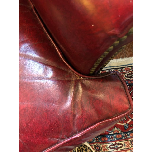 1950s 1950s Vintage Maroon Leather Wingback Chair For Sale - Image 5 of 13